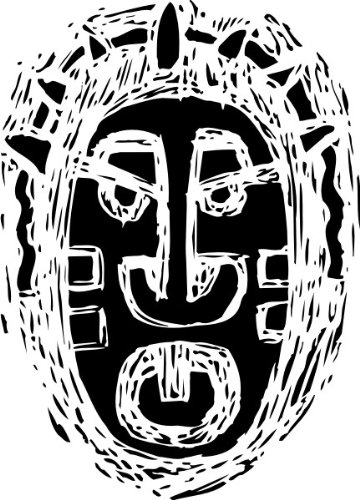 T-Shirt E541 Schönes T-Shirt mit farbigem Brustaufdruck - Logo / Grafik - abstraktes Design - Maske des Kriegers / afrikanische Stämme Schwarz