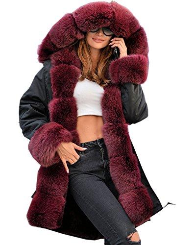 Aox Damenmode Faux Pelzmantel Warm Verdicken Plus Größe Kapuze Mantel Parka Dame Winter Lässige Mantel Schnee Anorak (50, Red Faux Fur) (Kapuzen-mäntel Für Frauen Plus Größe)