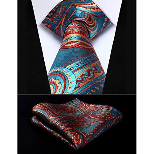 KYDCB Party Hochzeit Classic Einstecktuch Krawatte blau Burgund Paisley 3,4