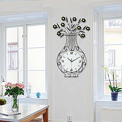 DFFV-Vases créatives incrustent horloge murale fer forgé moderne européen noir (sans batterie)Cadeau de cadeau de Noël de vacances d'ami cadeau