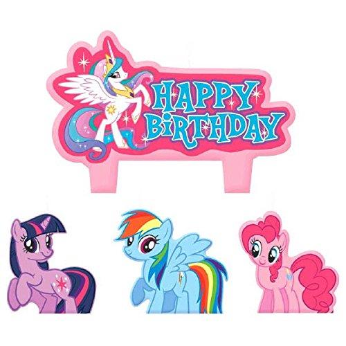 """Pink Supplies Party Pony (Geformte Motivkerze """"Party Time"""" von My Little Pony, Freundschaft, Minifigur, Geburtstagskerzen-Set, Pink, 4Stück, 3,2cm, Wachs.)"""