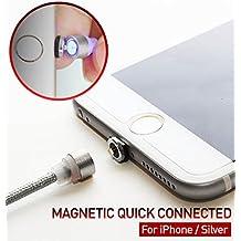[RedDot] Magnético Lightning Carga Cavo CIRCLE CONNECTOR de Nylon Libre 1.1m(3.6ft) High Speed 2.1A [No Data Sync] LED Lighting para iPhone iPad - Plata [Corea del Sur]
