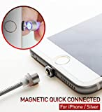 [RedDot] Magnetisches Ladekabel Lightning Kabel KREIS VERBINDER Nylon Kabel 1.1m(3.6ft) High Speed 2.1A [No Data Sync] LED Licht für iPhone iPad - Silber [Südkorea]
