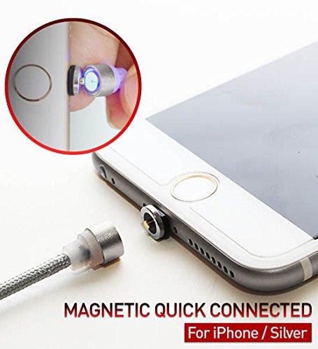 Preisvergleich Produktbild [RedDot] Magnetisches Ladekabel Lightning Kabel KREIS VERBINDER Nylon Kabel 1.1m(3.6ft) High Speed 2.1A [No Data Sync] LED Licht für iPhone iPad - Silber [Südkorea]