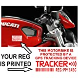 4 x Motorbike Dummy/Fake GPS Personalised Tracker Device Unit Security Alarm System Warning Window Stickers with Registration,Tag Number Printed-Police Monitored Sign For Motorcycle Bike