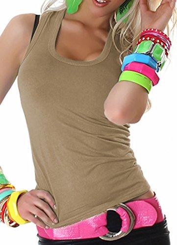 Damen Top Shirt Tanktop T-Shirt Sport Party Elegant Schwarz Sexy Lässig Träger Hellbraun