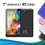 LeaningTech 17,8cm 7' Zoll A33 Quad Core Android 5.1 Dual Kamera 30/200W 8GB 1024x600 Hohe Auflösung 1,3GHz IPS Bildschirm WiFi GPS Tablet tablett PC Pad Auch für Kinder Lern/Spiel Schwarz