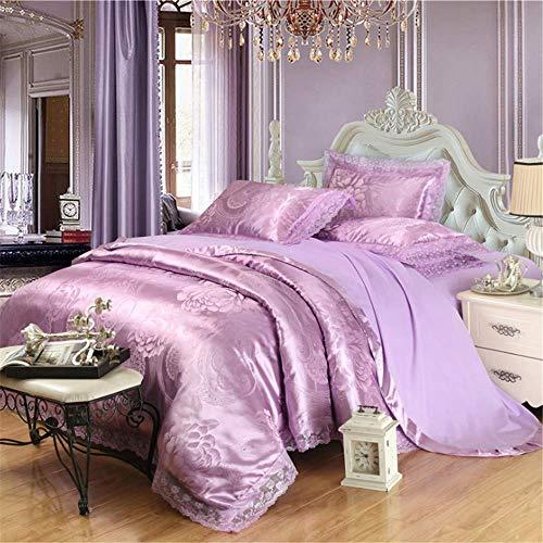 Jacquard Bettwäsche Set Königin King Size Bett Set Baumwolle Seide Spitze Bettbezug Spannbetttuch Sets Lila 150x200cm -