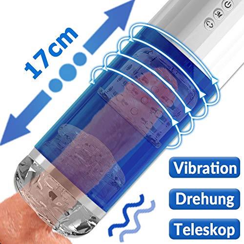 Elektrische Cup-Masturbator mit 10 Vibrationsmodi 5 Teleskopdrehung, Treediride Automatischer Masturbatoren Masturbieren Sex Men Blowjob Cup Teleskopischer Erotik Oral Sexspielzeug für Mann Männer