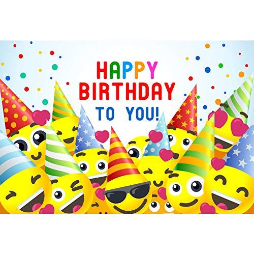 Cassisy 2,2x1,5m Vinilo Fondo de Fotografia Dibujos Animados Smileys Emoji Feliz cumpleaños a ti...