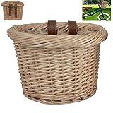 Gereton Front Fahrradkorb für Lenker Outdoor Autokorb Ökologie Handgeflochtener Korb Vintage Weidenkorb mit braunen Lederriemen