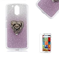 Motorola Moto G4/G4 Plus Case [with Free Screen Protector], Funyye Soft Silicone Gel TPU Ultra Thin Slim Glitter Purple Gradual Colour Changing With Love Hearts Ring Holder Protective Rubber Bumper Case Cover Shell for Motorola Moto G4/G4 Plus