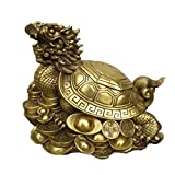 XHCP 35 cm de Long # Top Protection Efficace Talisman House Protection Argent Dessin Dessin Tortue-Dragon Feng Shui Statue en Laiton...