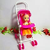 Enlarge toy image: SelfTek Baby Carriage Walking Stroller Lovely Plastic Trolley For Barbie Doll Nursery Furniture -  preschool activity for young kids