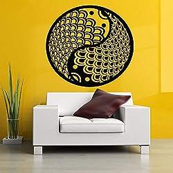 Ying Yang Signe De Poisson Motif De Mode Amovible Stickers Muraux pour Le Salon Fond Stickers Muraux Chambre Art Autocollant Rouge 42X42cm
