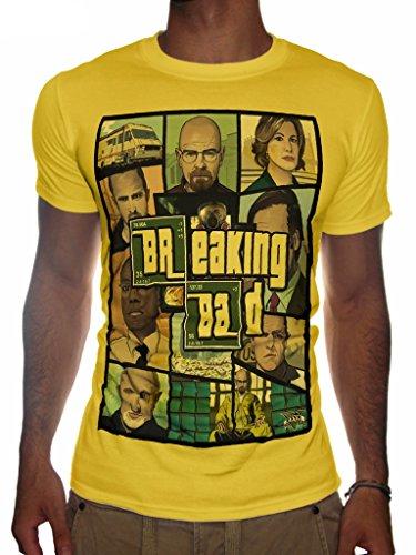 Preisvergleich Produktbild Mens Breaking Bad Vs Grand Theft Auto T-SHIRT Artwork GTA5 Inspired (Large, Yellow)