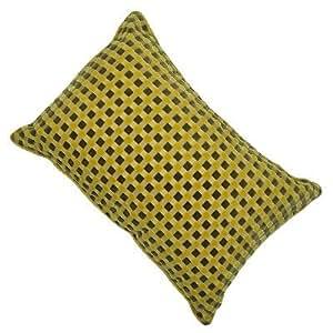 Lot de 2 coussins à damier en velours coupé - jaune citron - 40 x 60 cm