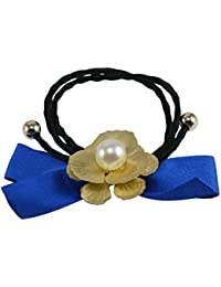 Saamarth Impex Blue Fabric With Golden Flower Design Rubber Band/Hair Band Accessories SI-3925