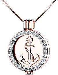 """'Yumi Lok Colores Plata/Oro rosa liegierung Cristal ancla """"Faith Hope Love intercambiables Moneda Coin Colgante Medallón Collar para mujer Chica"""