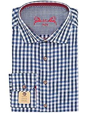 OS Trachten Trachtenhemd Langarm Blau Weiß Karo Slimfit 001815, Extra Lange Ärmel, Material Baumwolle