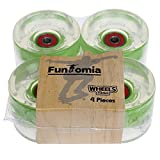 4 Stück LED FunTomia® Longboard/Skateboard Rollen (Big Wheels) in 70x51mm 80A inkl. Mach1® Kugellager und Metall Spacer (4 Stück grüne LED Rollen)