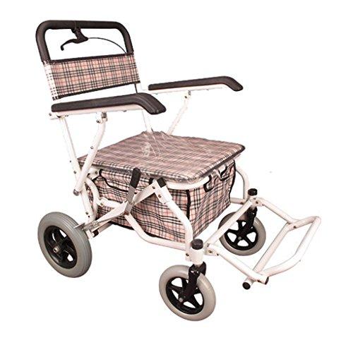 Andador de hierro blanco Colores Walker plegable con ruedas (4ruedas–Andador (con asiento y cesta