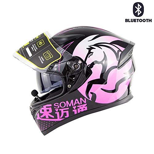 YYCC-helmet ModularHelm Motorrad Crash Motorrad D.O.T Zertifizierung-Full Face Racing Bluetooth Helme Flip Front automatische Antwort Anti-Fog Doppelspiegel,XL(61~62cm) (Racing Antwort Helm)