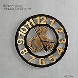 UFNGJNVK Wand Uhr Dekoration aus Holz Vintage Industrielle Wind Gear stumm Wohnzimmer -Z