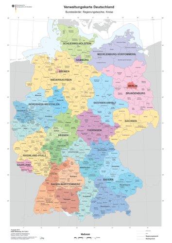 XXL DIN B1 (1000 x 700 mm) Verwaltungskarte Deutschlandkarte Bundesländer, Ländergrenzen, Regierungsbezirke, Landkreise Poster (K703)