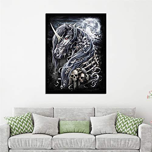 Adgkitb canvas 40x60cm SIN Marco Luz Luna Noche Unicornio