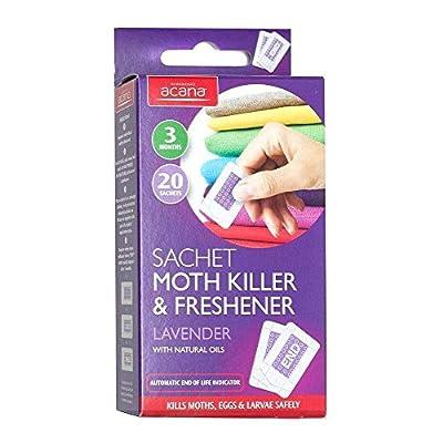 Acana Pack of 20 Moth Killer & Freshener Sachets with Lavender Fragrance