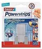 2 x tesa Powerstrips® Waterproof/Wasserfester Rasiererhalter/ rostfreier Edelstahl/ max. 2kg/ 59709-00000/für Damen & Herrenrasierer