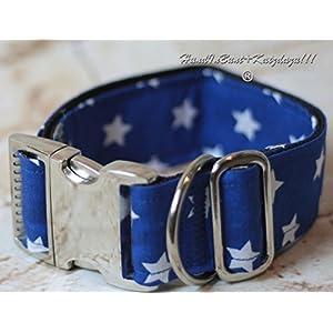 Hundehalsband blaue Sterne mit Stoffbezug und Metallschnalle