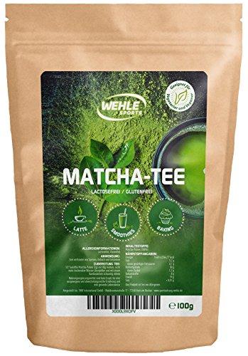 Matcha-Tee-Pulver - Grüntee-Pulver für Matcha-Latte, Matcha-Smoothies, Matcha-Getränk - Wehle Sports wiederverschließbarer Beutel mit 100g Matcha-Pulver - Premium Qualität aus Japan