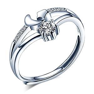 Yumilok 925 Sterling Silber Zirkonia Stern Mond Offener Ring Jahrestag Verlobungsring für Damen Mädchen, Größe 49-57 Verstellbar