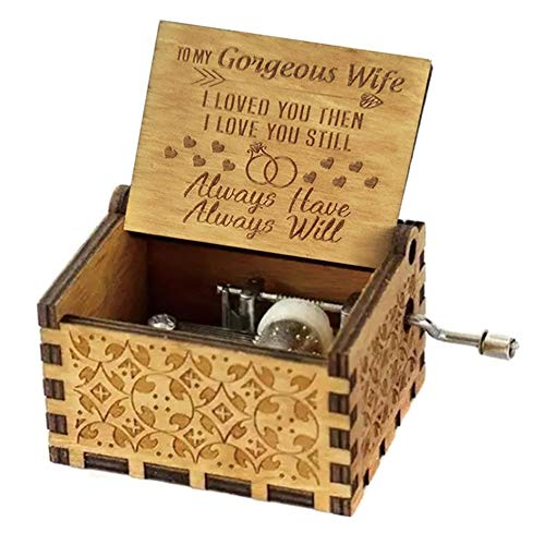 c Box Engraved Wooden Hand Crank Music Box Mom Dad Love Birthday Gift ()