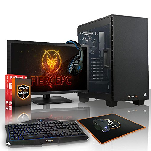 Fierce Guardian Gaming PC Bundeln - Schnell 4.3GHz Octa-Core AMD Ryzen 7 2700X, 1TB Festplatte, 16GB 2666MHz, AMD Radeon RX 550 2GB, Tastatur (VK/QWERTY), Maus, 21.5-Zoll-Monitor, Headset 380362