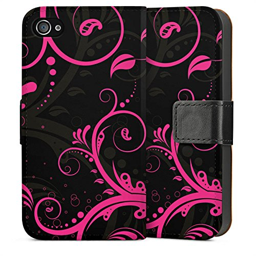 Apple iPhone 4 Housse Étui Silicone Coque Protection Ornements Rose vif Virages Sideflip Sac