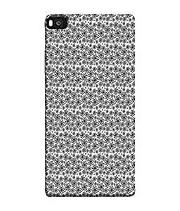 FUSON Designer Back Case Cover for Huawei P8 (Seamless Pattern Blue Design Drawing )
