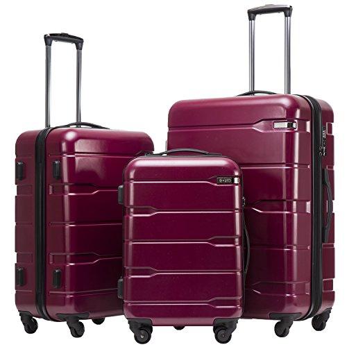 COOLIFE Koffer Reisekoffer Vergrößerbares Gepäck (Nur Großer Koffer Erweiterbar) PC + ABS Material mit TSA-Schloss und 4 Rollen(Radiant Pink, Koffer-Set) -