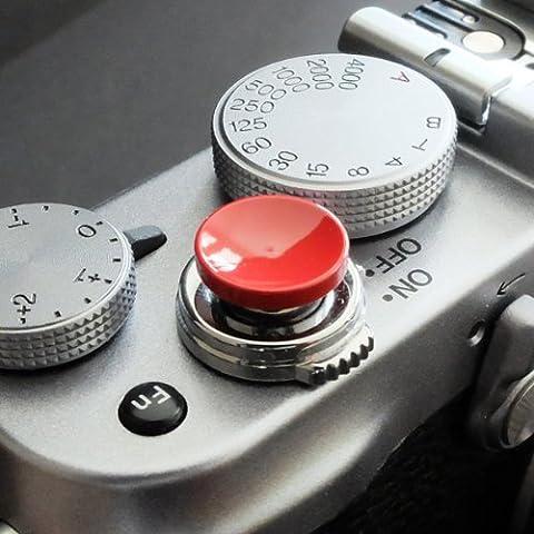 Métallique Soft Déclencheur en rouge (concave, 10mm) pour Leica M-Serie, Fuji X100, X100S, X100T, X10, X20, X30, X-Pro1, X-Pro2, X-E1, X-E2, X-E2S et tous les appareils photos avec la bouche filetage conique