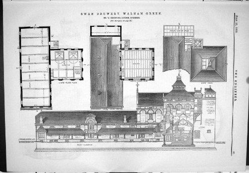 old-original-antique-victorian-print-plan-swan-brewery-walham-green-bradford-engineering-1883-029j05