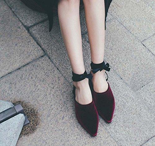 NobS Retro Oro Velluto Point Toe Flat Ankle Straps Scarpe Singole Scarpe Donna Sandali Dressing Pantofole wine red