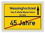 Geschenkidee zur Messinghochzeit - 45 Jahre verheiratet - Messing Hochzeit - Ortsschild Bild Geschenk zum Hochzeitstag - Jubiläum mit Namen und Datum