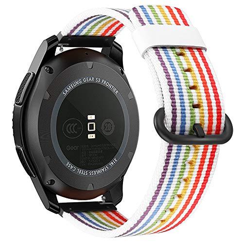 Fintie Armband kompatibel für Galaxy Watch 46mm / Gear S3 Frontier/Gear S3 Classic/Huawei Watch GT - Premium Nylon UhrBand Uhrenarmband Ersatzband Replacement, Streifen regenbogen