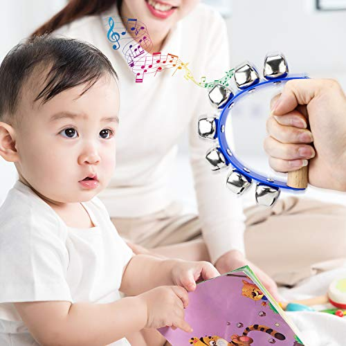Homgaty Wooden Handle Bell, 7 Jingle Bell Shaking Tambourine Handbell Shaker Rattle for Child Early Toys Musical Instrument Tool