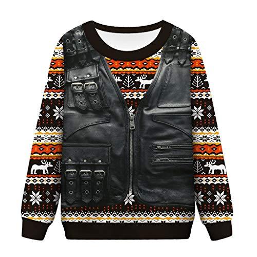 Xmiral Sweatshirt Damen Drucken Weihnachten Tops Rundhals Komisch Persönlichkeit Pullover Reißverschluss Fake zweiteilig Jacke Design Strickwaren(Gelb,XXL)