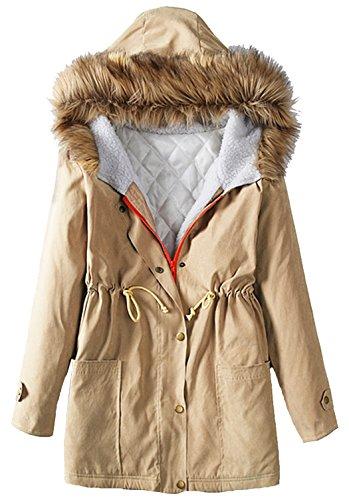 U-shot Parka de esquí para mujer de pelo sintético con capucha, acolchada...