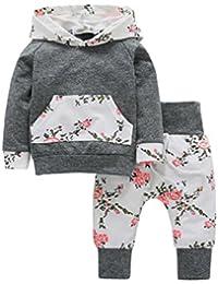 2pcs Kleinkind Baby Junge Mädchen Kleidungs Gesetzte BlumenHoodie Tops + Pants Outfits von WINWINTOM
