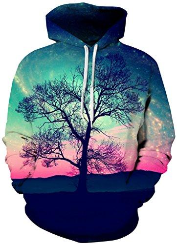 AMOMA Unisex Slim Fit 3D Digital Bedruckte Sweatshirt Kapuzenpullover Hoodies Tree